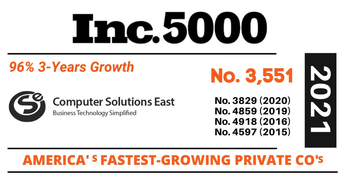 With three-year revenue growth of 96%, Computer Solutions Eastmakes it to the Inc. 5000 list.